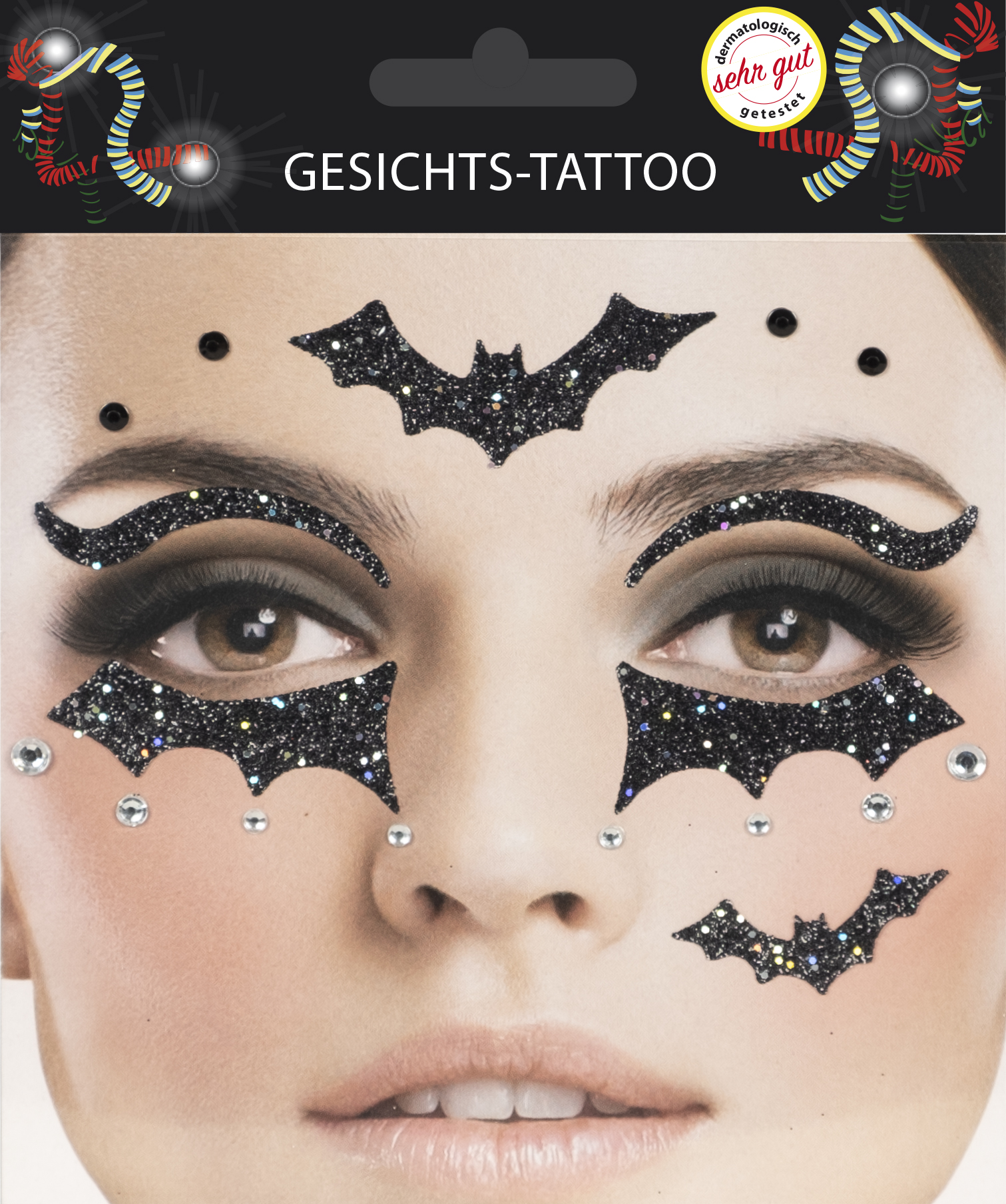 Gesichts-Tattoo Halloween Fledermaus